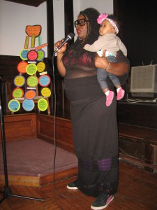 Tanya Fields discussing the work of the BLK ProjeK with her daughter