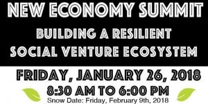 """Banner image for the New Economy Summit, reading: """"Building A Resilient Social Venture Ecosystem"""""""