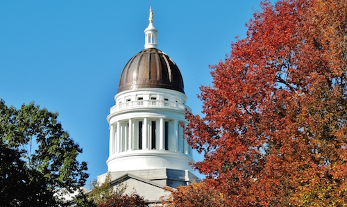 Maine's state capitol building on a fall day